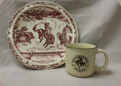 Plate and Mug, Ellensburg Rodeo Memorabilia.